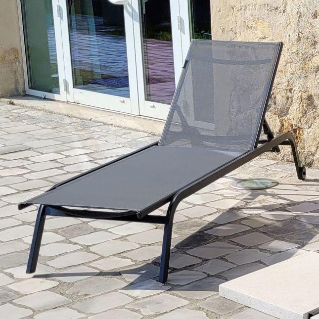 Bain de soleil aluminium anthracite et textilène gris Perth