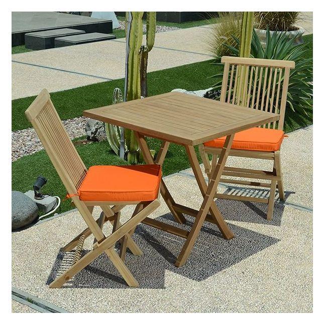 Salon de jardin teck Ecograde Cesena, 2 chaises
