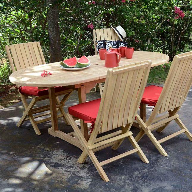Chaises de jardin pliantes en teck karimun (lot de 2)