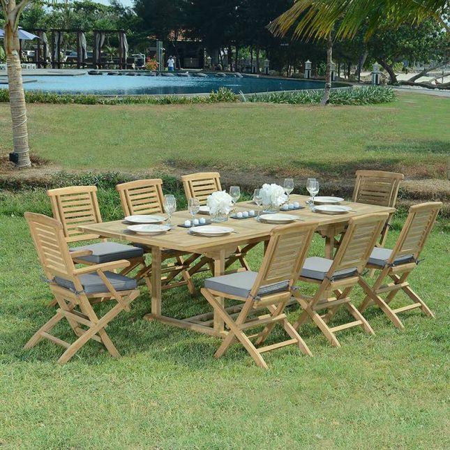 Fauteuils de jardin pliants en teck Barbade (lot de 2)
