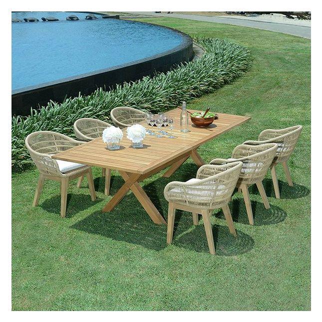 Table extensible rectangulaire teck Ecograde Linarte 180/240 x100 cm