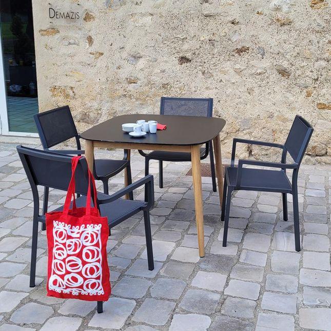 Table en teck et Duranite® noir 90 x 90 cm Kimito