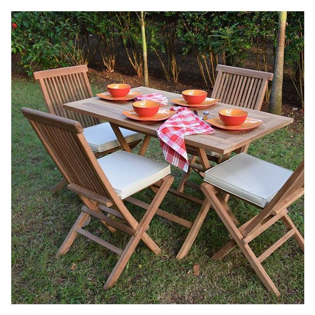 Table pliante rectangulaire en teck Ecograde Kensaï 120 x 70 cm