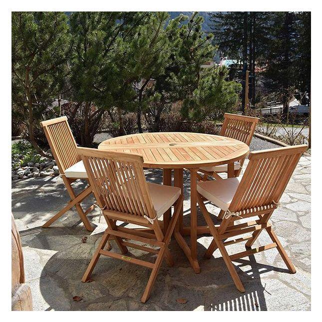 Table pliante ronde en teck Ecograde Domingue ø 120 cm