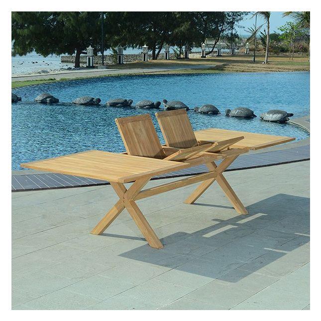 Table extensible teck Ecograde Linarte XL 194/294 x 110 cm