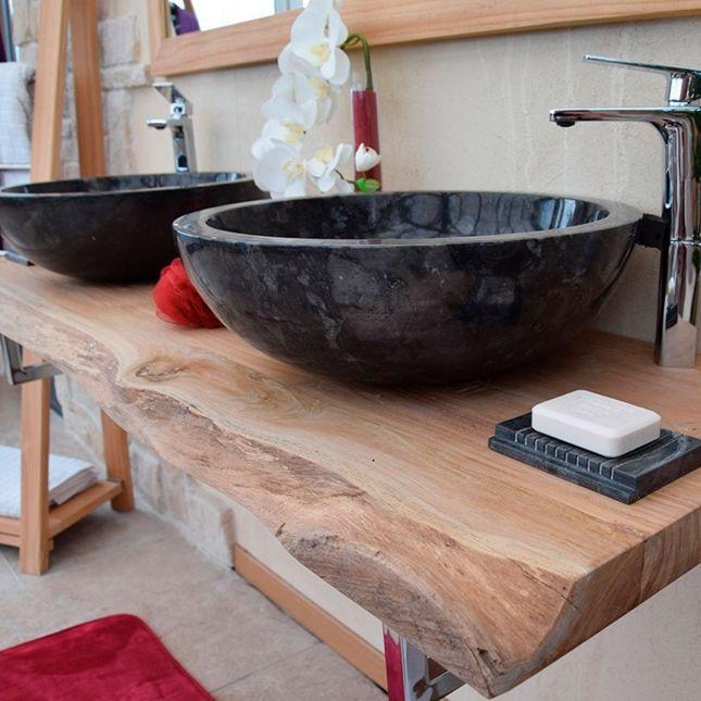 Vasque à poser en marbre noir, Lizéa