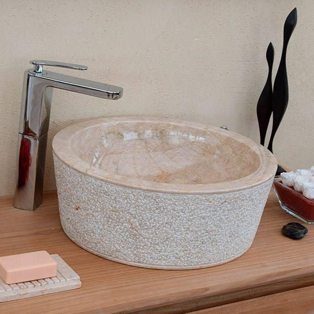 Vasque à poser en marbre crème, Drip