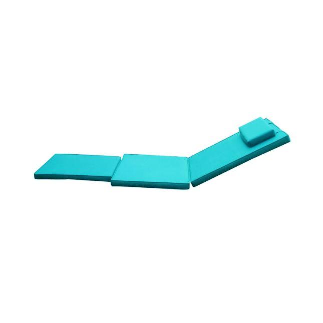 Matelas bleu turquoise pour chaise longue